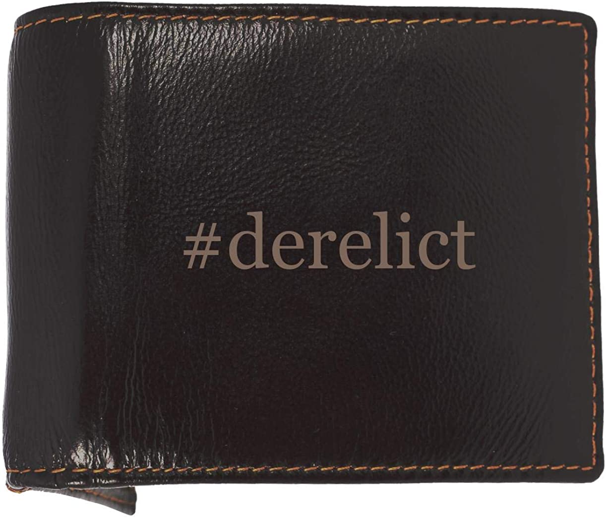 #Derelict - Soft Hashtag Cowhide Genuine Engraved Bifold Leather Wallet