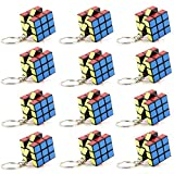 pelddy Party Supplies Pack of 12 Mini Keychain Cube 3x3 Puzzle Cube Keychains