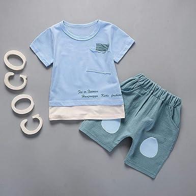 Ydsad Ropa de bebé algodón Respirable Rosa Top + Pantalones Cortos Verdes Lindo bebé Conjunto de Ropa de Verano: Amazon.es: Ropa y accesorios