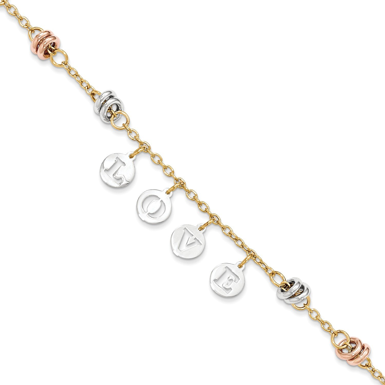 Roy Rose Jewelry 14K Tri-Color Gold Polished Cut-out white Love circles Bracelet ~ Length 7.5'' inches