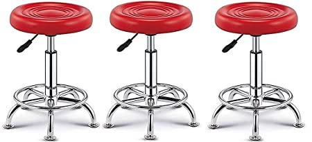 ABSC Apni Dukan Steel Adjustable Stool (Red, Standard Size) -Set of 3 Pieces