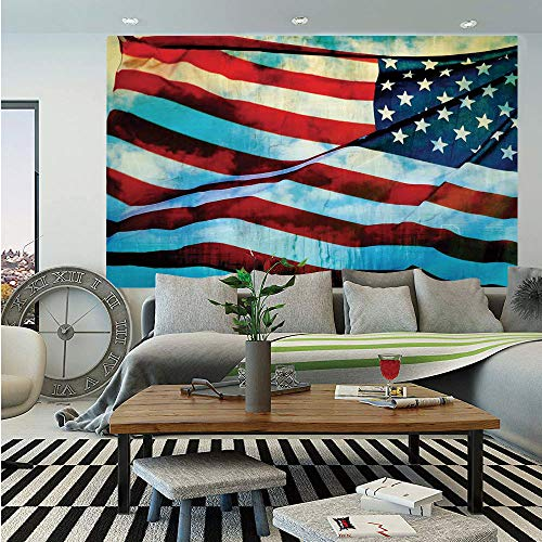 SoSung American Flag Decor Removable Wall Mural,American Flag in The Wind on Flagpole Memorial Patriot History Image,Self-Adhesive Large Wallpaper for Home Decor 66x96 inches,Blue Red