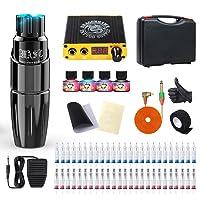 Dragonhawk Rotary Tattoo Pen Machine Kit, Mast Tour Tattoo Permanent Makeup Gun 50Pcs Cartridges Needles Power Supply Color Inks with Carry Case