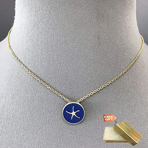 (Classic Arty Style Gold Chain Blue Starfish Design Pendant Sea Of Life Necklace Set For Women + Gold Cotton Filled Gift Box for Free)
