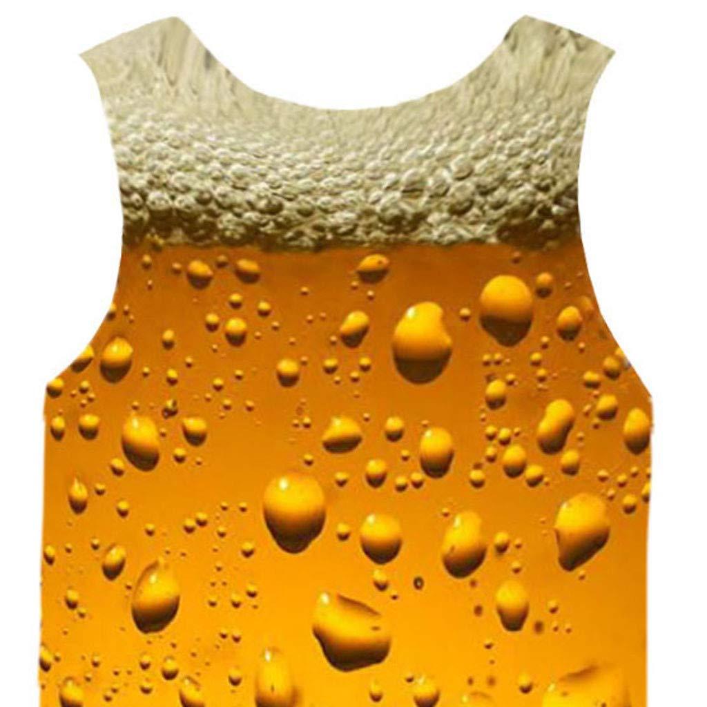 ANJUNIE Mens Summer 3D Printed Sleeveless Leisure Sports Vest Blouse Tank Top