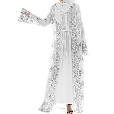 22beb0c51e0 YKARITIANNA Muslim Women Lace Sequin Cardigan Maxi Dress Kimono Open Abaya  Robe Kaftan Dubai White. Roll over image to zoom in