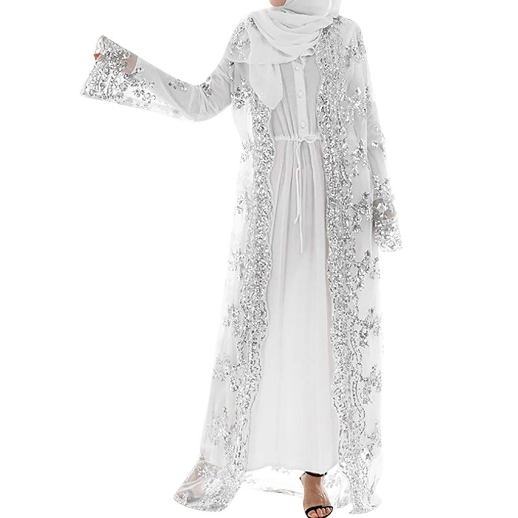 Muslim Women Lace Sequin Cardigan Maxi Dress Kimono Open Abaya Robe Kaftan Dubai (White, XXL Bust:122cm/48.03'')