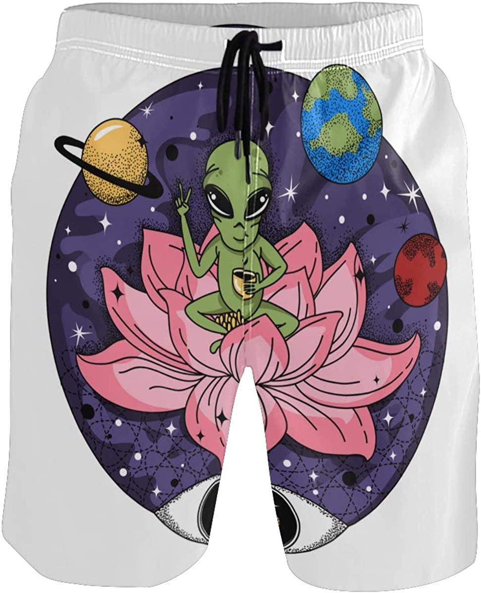 COVASA Mens Summer ShortsFunny Alien Sits On Pink Jug and Drinks Coffee Space