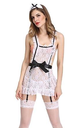 1251980ba077 Bigood Women s White Lace Nurse Cosplay Costumes Lingerie Sleepwear with  G-string