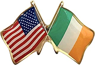 product image for Gettysburg Flag Works Set of 12 Ireland & U.S. Crossed Flags Double Waving Friendship Lapel Pin - Made in The USA