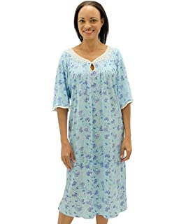 87662e3f5b Lady olga Ladies Incontinence Open Back Floral Poly Cotton Hospital ...