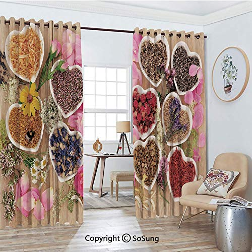 - Thermal Insulated Blackout Patio Door Drapery,Healing Herbs Heart Shaped Bowls Flower Petals on Wooden Planks Print Healthcare Decorative Room Divider Curtains,2 Panel Set,100