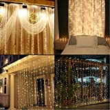 Neretva Window Curtain Icicle Lights, 304 LEDs String Fairy Lights, 9.8x9.8ft, 8 Modes Linkable,LED String Lights for Christmas Party Wedding Patio Lawn Garden Decorative Lights (Warm White)