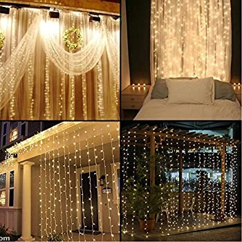Neretva Window Curtain Icicle Lights, 304 LEDs String Fairy Lights,  9.8x9.8ft