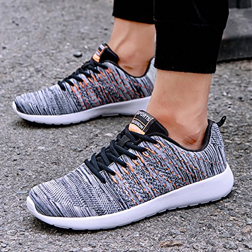 Athletic Men's Flyknit No Couple 66 Shoes Women's Running Sneakers Breathable Orange Flat Town Grey UYw1In1x4