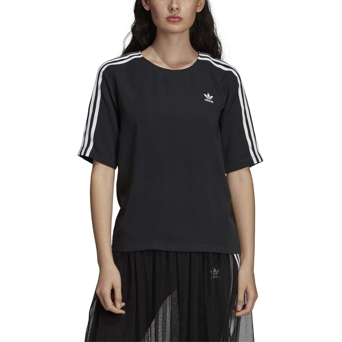 adidas Originals Women's 3 Stripes Tee Black 1 Medium