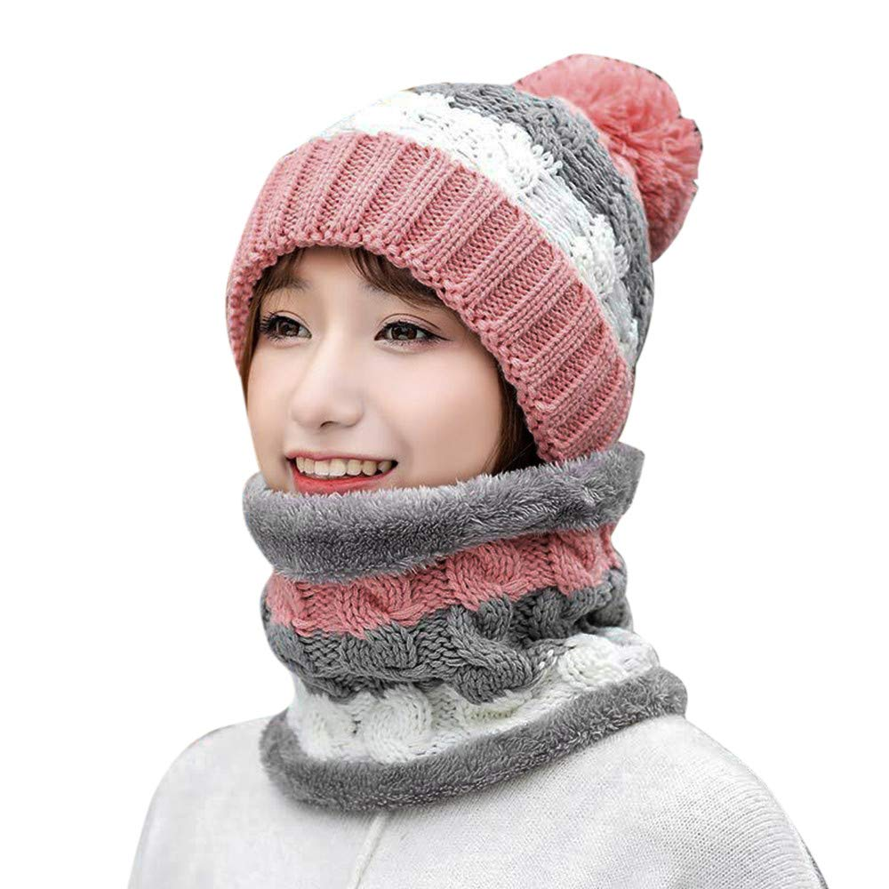 BSGSH Winter Beanie Hat Scarf Set Warm Knit Hat Pom Pom Skull Cap for Men Women (Pink)