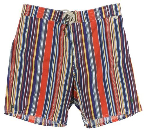 Polo Ralph Lauren Swim Trunk Board Shorts Mens Xl Stripes Orange Blue Red