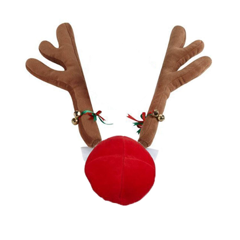 FancyAuto Christmas Car Costume Reindeer Antlers y Red Nose Set con Jingle Bell y Riband, decoració n Festiva de Navidad (Brown) decoración Festiva de Navidad (Brown)