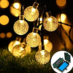 easyDecor [18650 Rechargeable Battery Included] Globe Battery Operated String Lights 30 LED Automatic Timer 8 Mode Crystal Ball Christmas Lights for Xmas Garden Outdoor Holiday Decoration (WarmWhite)