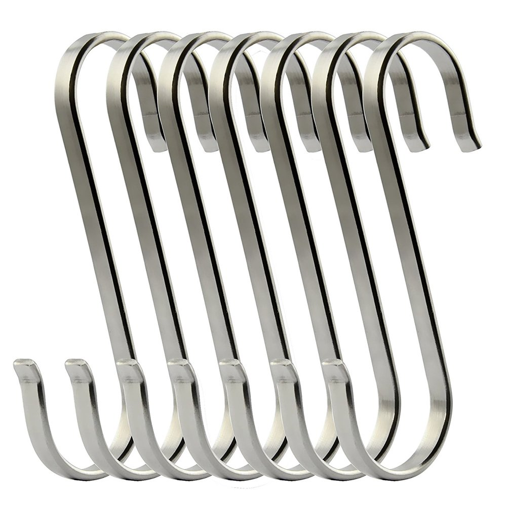 zyurong 6Pcs Flat S Shaped Hooks, Stainless Steel Metal Hanging Hooks Kitchen Pot Pan Hanger Wardrobe Rail Hooks, Length 7.5cm