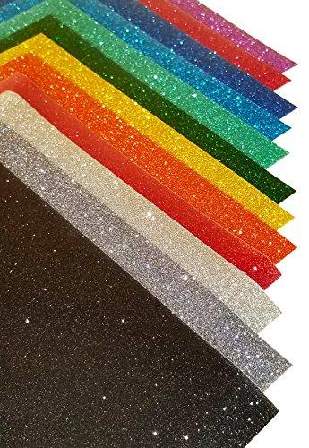 Glitter Heat Transfer Vinyl Htv 12 Color Bundle Pack 9 8