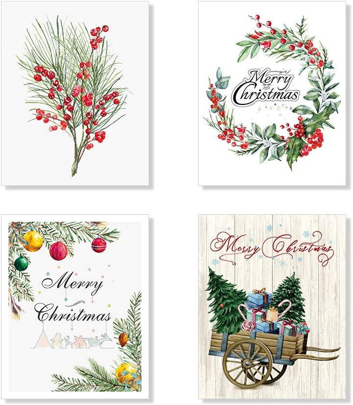 Christmas Prints Wall Art Using a Handcart to Bring Christmas Tree Back Home Posters Set of 4 Unframed 8x10 inches