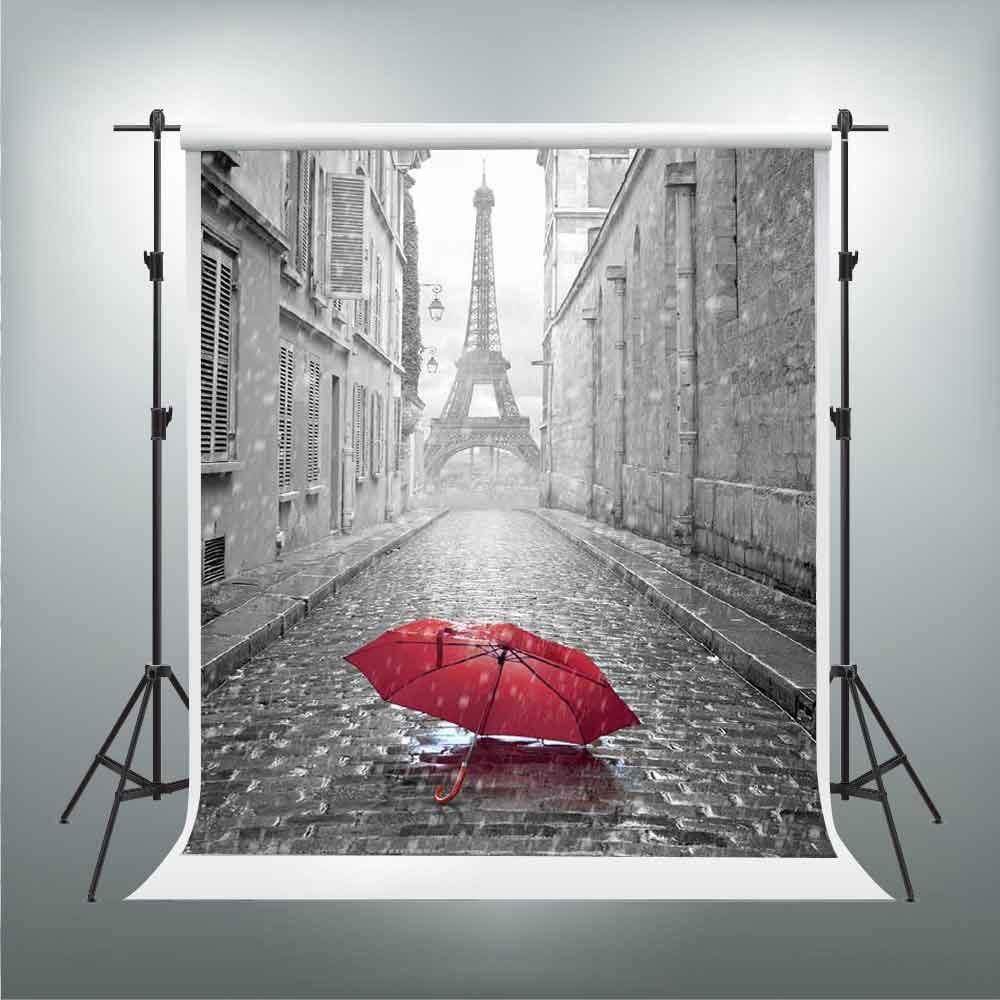 Gesen 5 x 7ftエッフェル塔Backdrop Parisianストリートレッド傘in the Rain Backdrop You Tube背景ビデオStudio Props sen391   B07CJ7WY9G