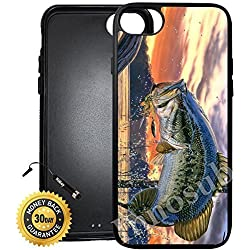 Custom iPhone 7 Case (Pro Fishing Bass Mouth) Edge-to-Edge Rubber Black Cover with Shock and Scratch Protection | Lightweight, Ultra-Slim | Includes Stylus Pen by Innosub