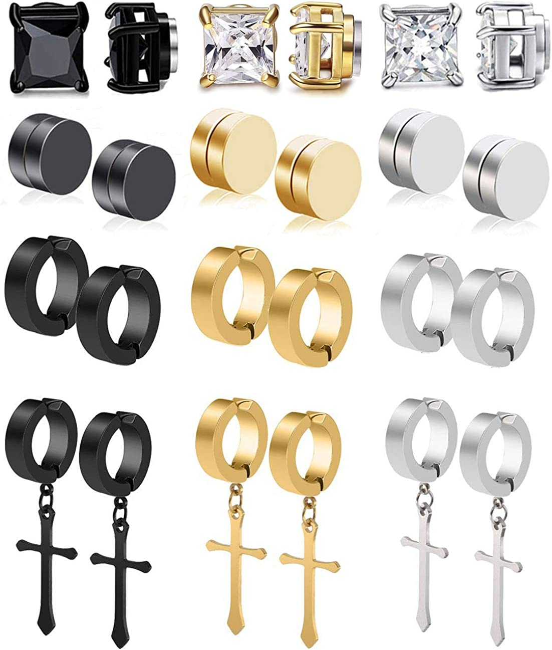 CARSHIER 12 Pairs Stainless Steel Clip On Non-Pierced Earrings for Mens Womens Magnetic CZ Earrings Dangle Earrings Set
