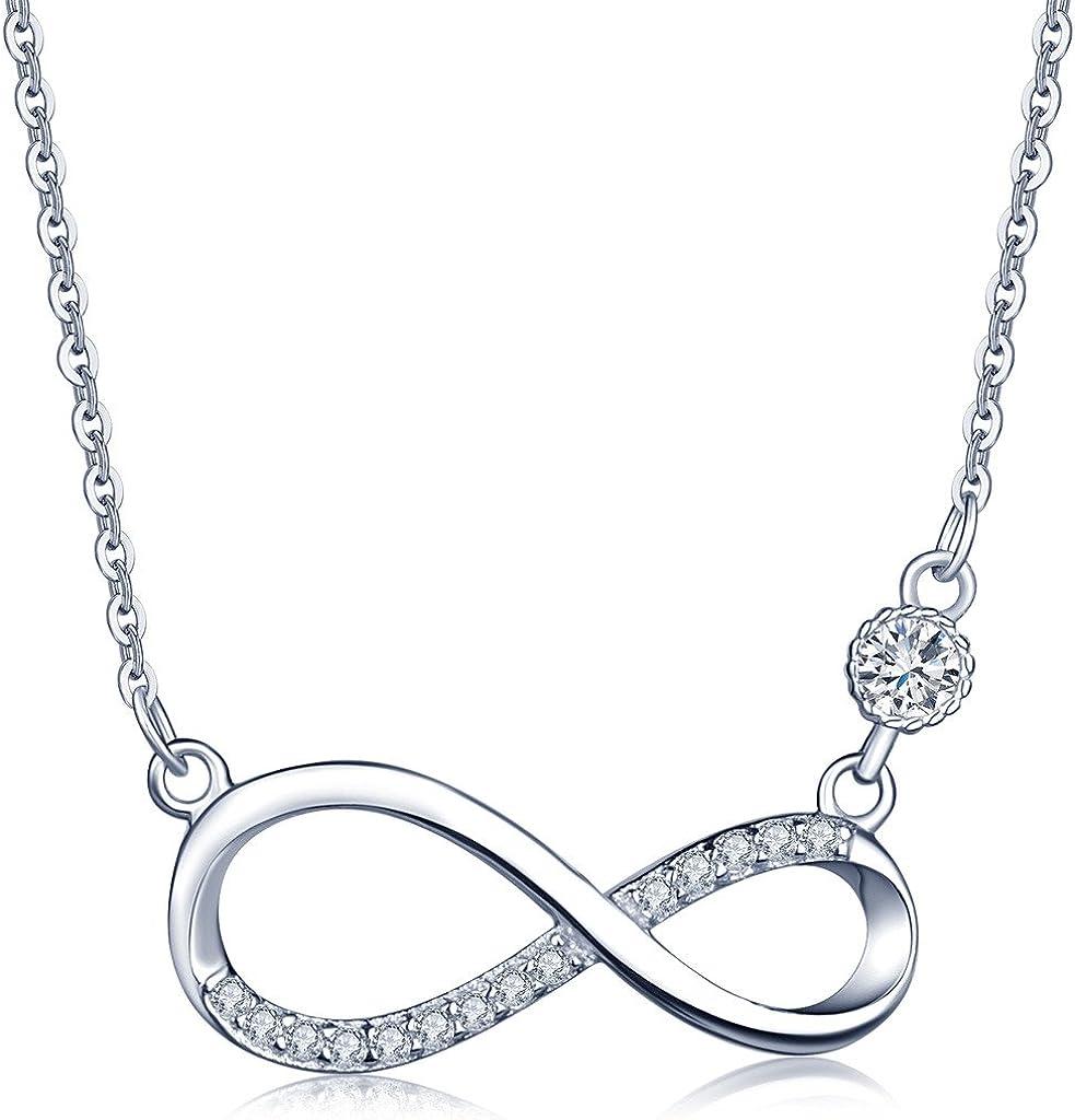 Collares Mujer- Infinite U Plata de Ley 925 Colgante Infinito Diamante,Color de Oro Rosa/Plateado