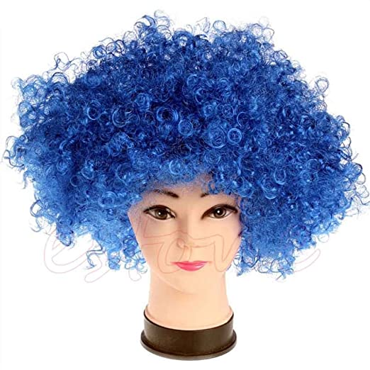 Amazon.com  Stebcece New Women Mens Fun Afro Curly Clown Party 70s Disco Wig  Wigs in 13 Colours (blue)  Clothing 6c1ec6f0c3