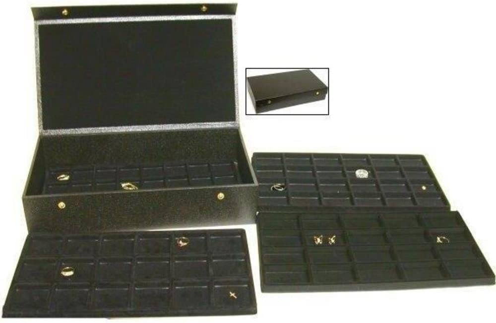 FindingKing 4 Black Trays Charm Display Jewelry Travel Case Box