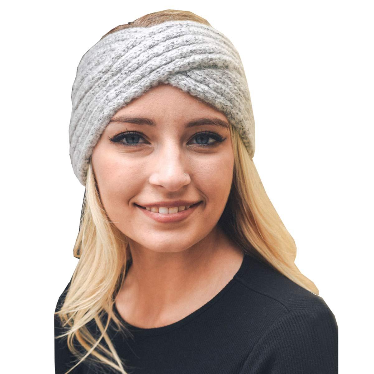 283689be21e0 Women Chunky-Confetti-Knit Headband Cross - Headwrap Knit Hairband Mohair  Beanie Bohemia Headband Reversible Hair Accessories (Grey) at Amazon  Women s ...