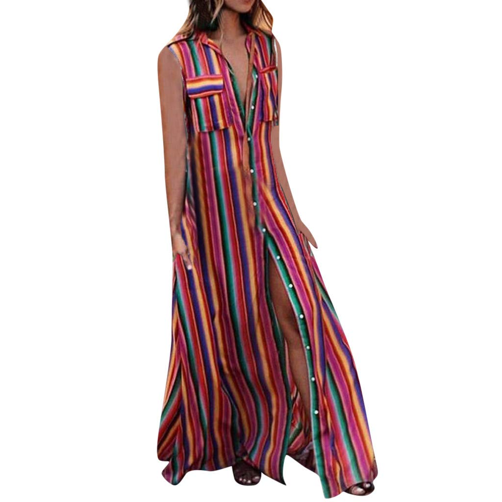 TnaIolral HOT! Women Dresses Striple Summer Button Sleeveless Loose Party Long Skirt