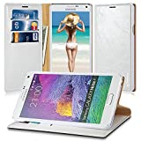 Note 4 Case, Galaxy Note 4 Case,Vakoo Flip Premium Leather Hard Back Case for Samsung Galaxy Note 4 with 3 Card Slots and 1 Cash Pocket - White