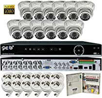 CIB Security H80P16K2T03W-12KIT-W 16CH 1080P Video Security DVR, 2TB HDD & 12x2.1-MP 1920TVL Night Vision Camera, White
