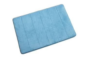 petit tapis de salle de bain en mousse viscoélastique bleu 60 x 40 ... - Tapis Salle De Bain Bleu