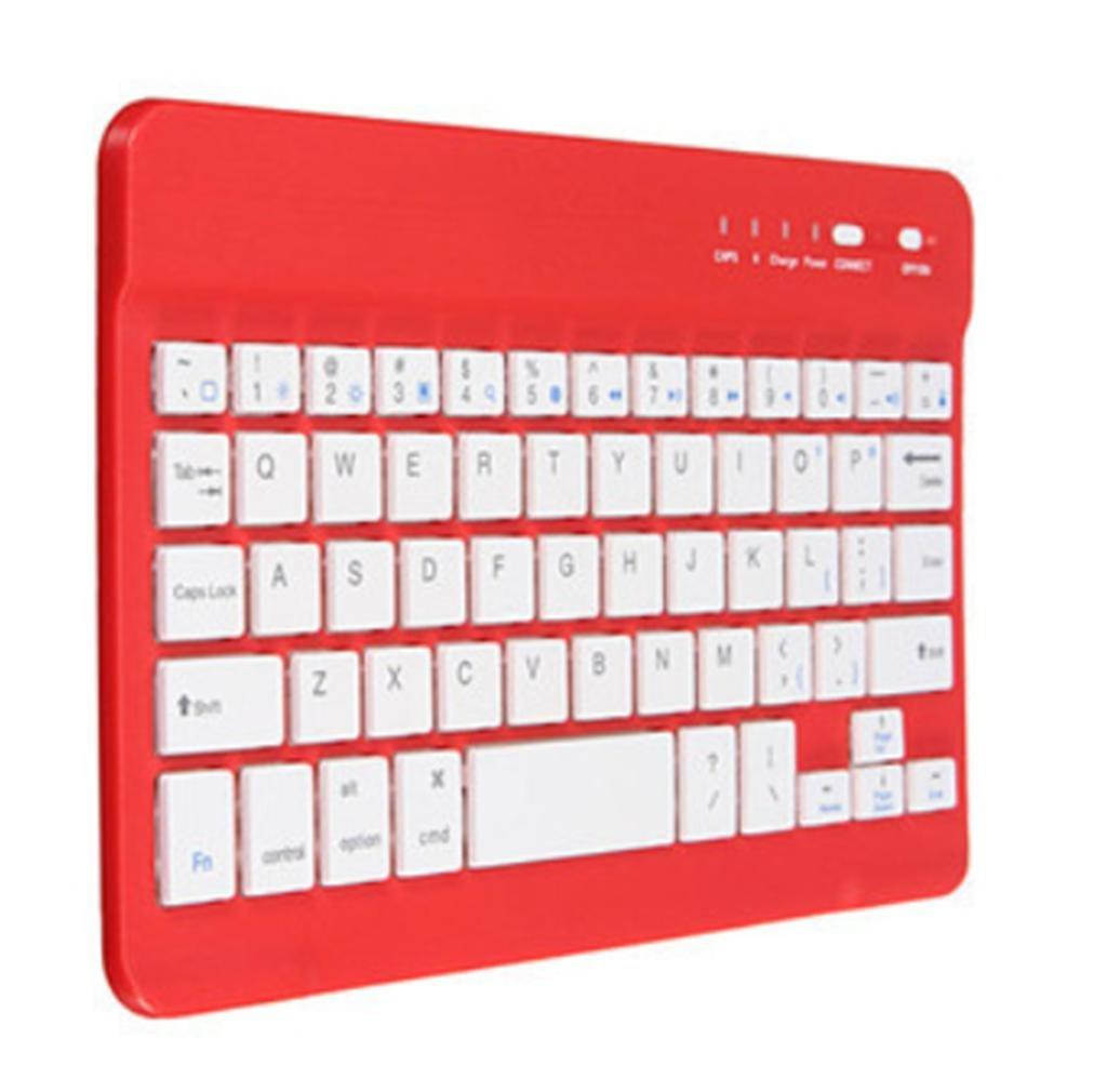 Kitzen Aluminio aleación Compatible Bluetooth Teclado Ultra Delgado teléfono Celular Plano Teclado inalámbrico Windows iOS Android, Red for Game Office ...