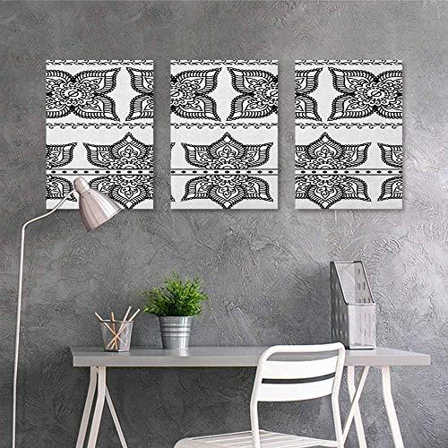 tive Painting Sticker,Henna Antique Border Designs with Lotus Inspired Ornate Flower Figures Moroccan Details,Modern Decorative Artwork 3 Panels,16x31inchx3pcs Black White ()
