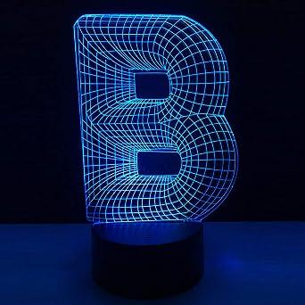 KangYD Letra B Lámpara de mesa de escritorio 3D / Lámpara LED de ...