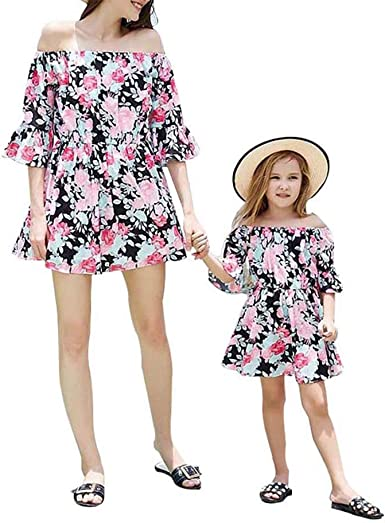 Family Mother Daughter Matching Girl Ruffled Off Shoulder Dress Clothes Outfit