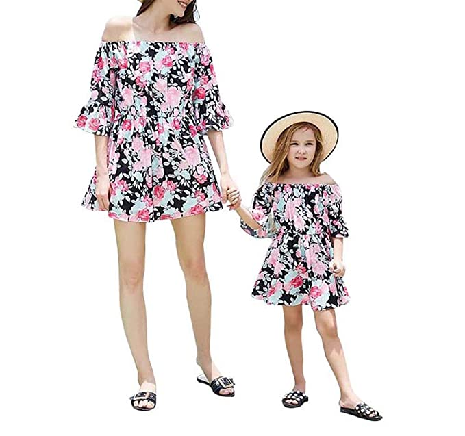 cb9ba3eba8 Mother Daughter Summer Dresses Family Matching Outfits Mommy and Me Off  Shoulder Floral Ruffle Short Dress