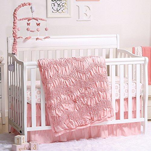 Jayden Coral Smocked Baby Crib Bedding - 20 Piece Nursery Essentials Set