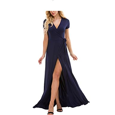 Aderu C Dresses V Neck Beach Long Dress Women 2018 Summer Short Sleeve Bandage Bodycon Wrap