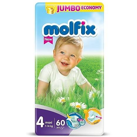 molfix Maxi/Jumbo bajo Pack de 60 Pañales 7 – 14 kg, talla 4