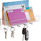 mDesign Mail Shelf, Letter Holder, Key Rack Organizer for Entryway, Kitchen - Wall Mount, Clear