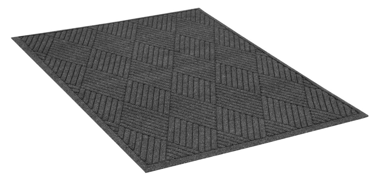 Guardian EcoGuard Diamond Indoor Wiper Floor Mat, Recycled Plactic and Rubber, 4'x8', Charcoal Black