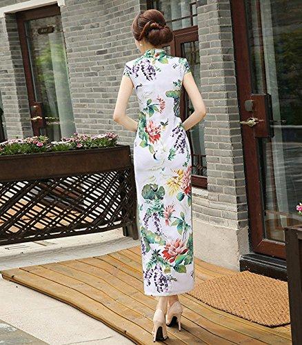 verano vestido impresa la Woman Gorgeous Qipao para noche Cheongsam tradicional Color Maxi chino Acvip flor A0OUq
