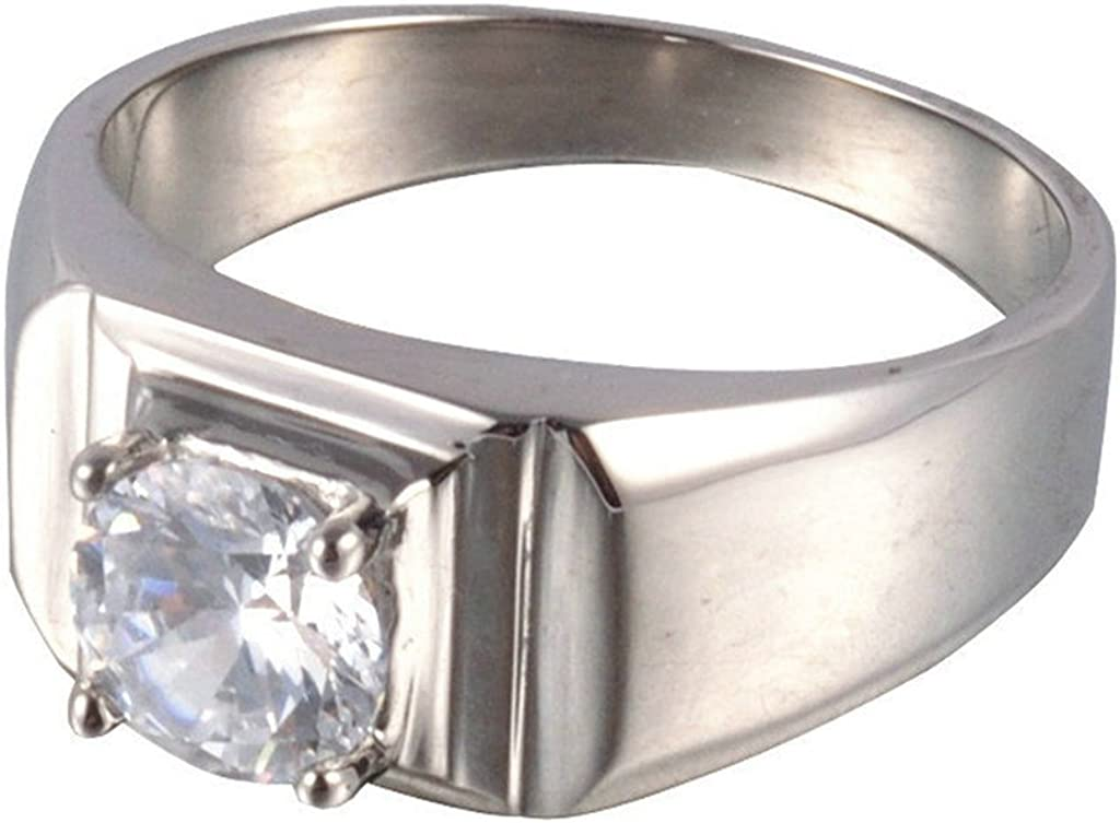 Aooaz Mens Stainless Steel Ring Silver Tone Round Cut Stone CZ Retro Classic Wedding Band Gothic Charm